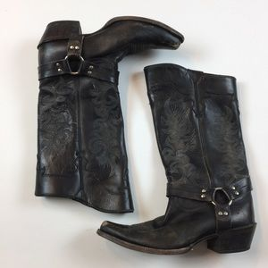 Frye Lily Harness cowgirl Boots Tall 10 B Leather